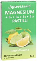Apteekkarin Magnesium+ B pastilli sitruuna 30 kpl